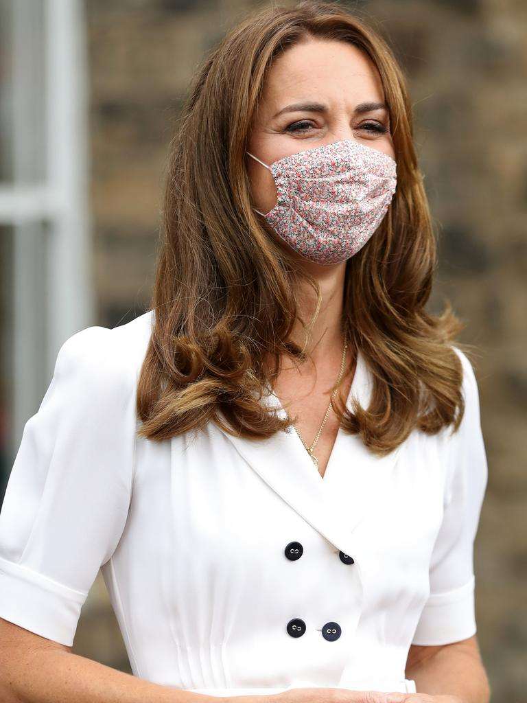 Catherine, Duchess of Cambridge, wearing a face mask, as she leaves after a visit to Baby Basic UK & Baby Basics Sheffield on Tuesday. Picture: Chris Jackson/WPA Pool/Getty Images