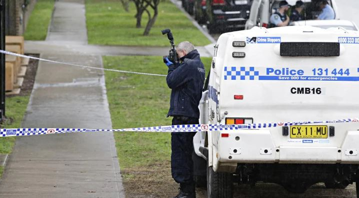 Police at the scene of the stabbing at Old Saleyards Reserve in North Parramatta. Picture: Adam Yip