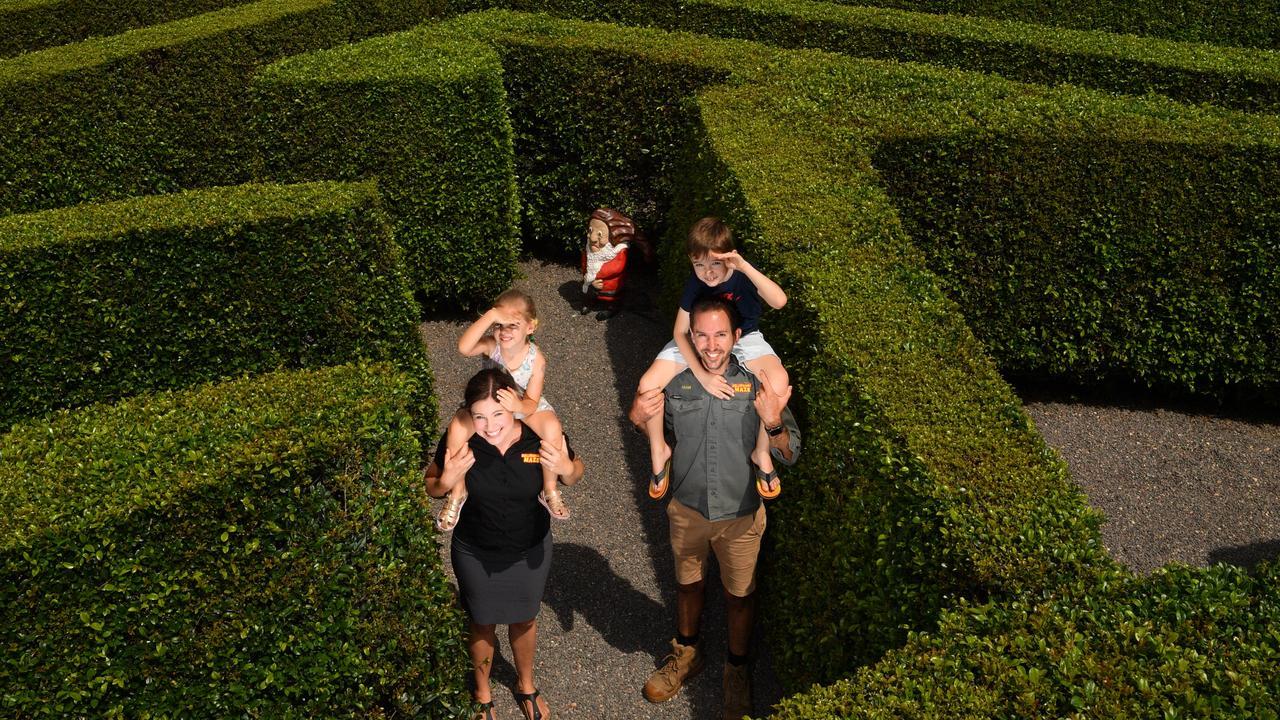 MAZE MADNESS: Adam, Robyn, Blake and Zara Cheshire at Bellingham Maze. Picture: John McCutcheon
