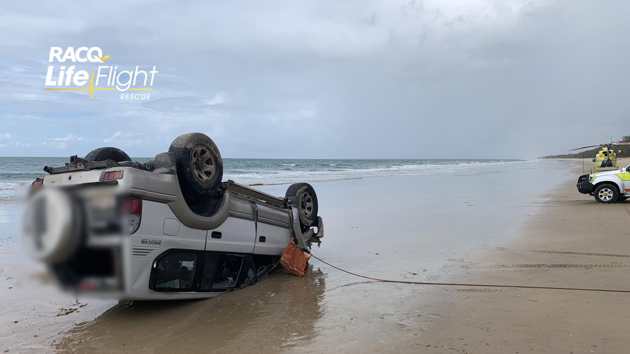 WHAT CAN GO WRONG: A woman was airlifted by the RACQ LifeFlight Rescue helicopter, after a 4WD rollover occurred on a beach. Picture supplied.