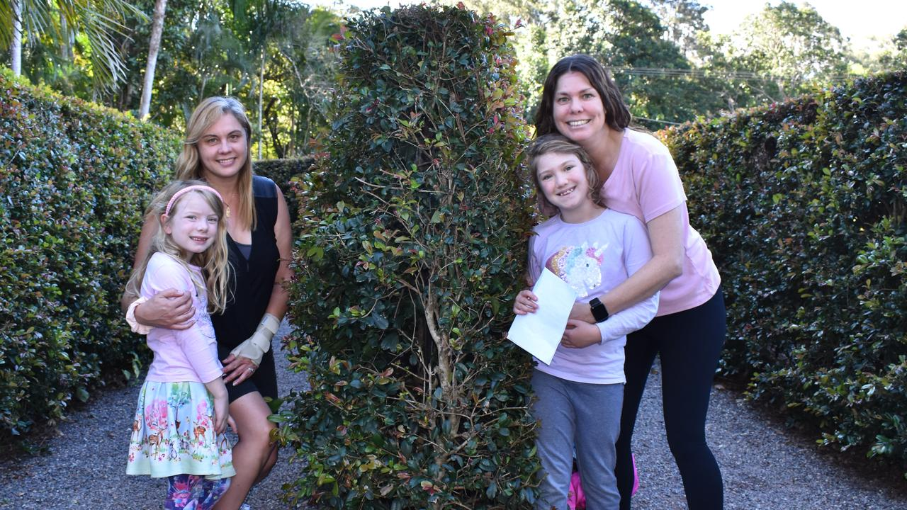 MAZE MADNESS: Irene Pullen and Grace Watson (left) with Michelle and Emma Pullen loved their visit to Bellingham Maze at Tanawha on Sunday August 9. Picture: Lacee Froeschl
