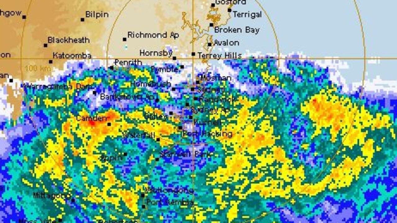 BOM Rain radar image showing torrential rain approaching Sydney. Source: BOM