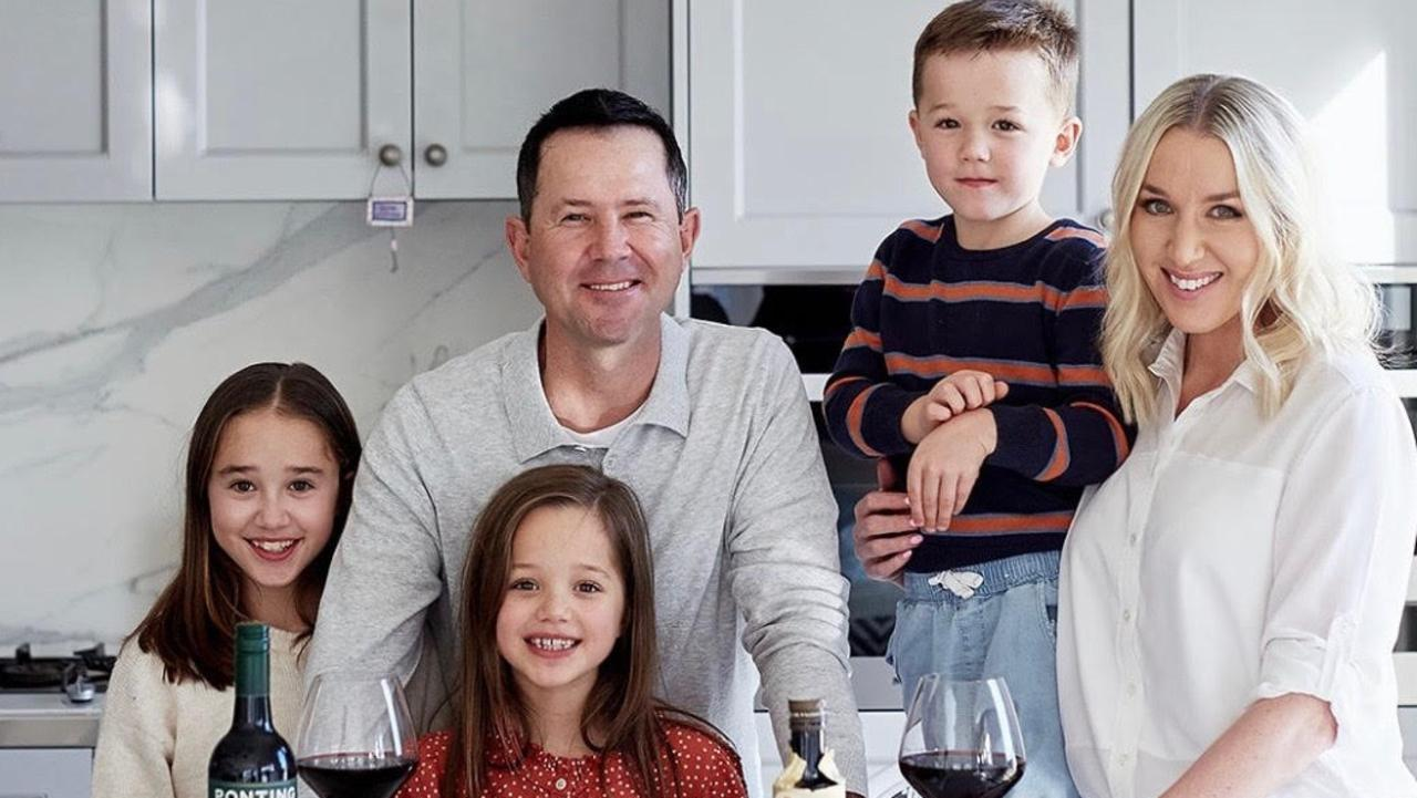 Ponting with his wife Rianna, and their children (L-R) Emmy, Matisse and Fletcher.