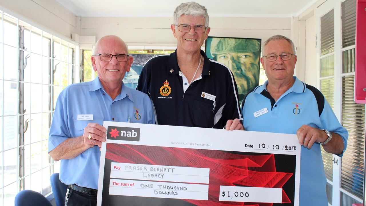 Hervey Bay Legacy chairman Bob Schultz, Naval Association of Australia Fraser Coast Sub-Branch president Peter McDermott and legatee Barry Toohill were all smiles after the Naval Association of Australia Fraser Coast Sub-Branch donated $1000 to Hervey Bay Legacy. Mr McDermott is in the running a top community award.