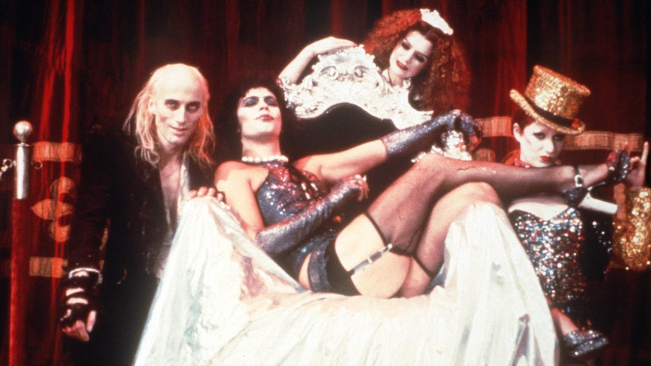 Tim Curry (C) as Frank N. Furter in a scene from 1975 film The Rocky Horror Picture Show. Picture: Supplied