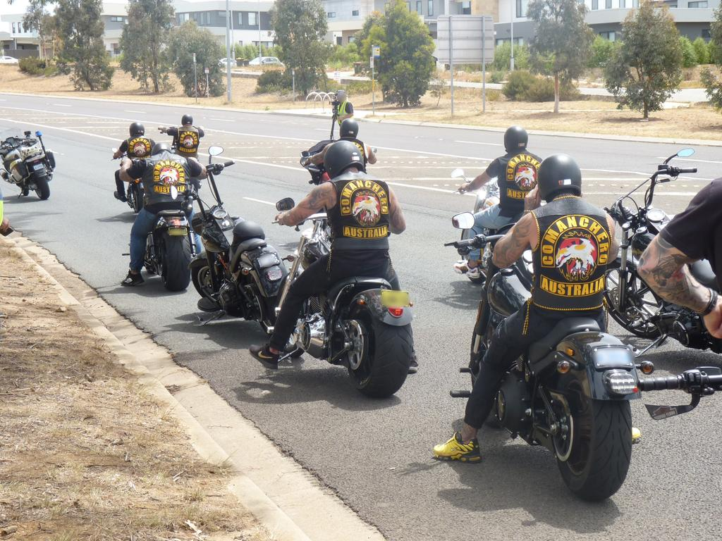 Comanchero bikie members go for a ride in the ACT in 2019. Picture: Supplied