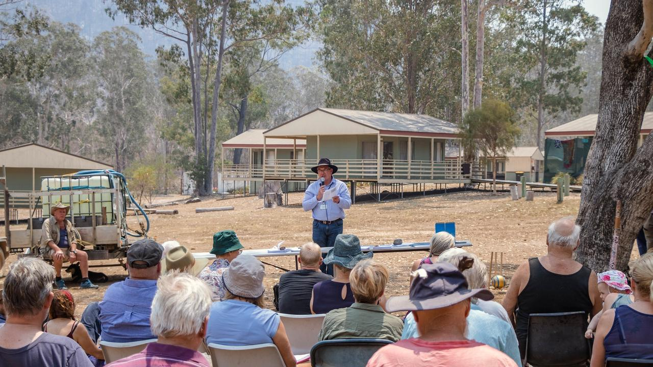Clarence Valley Council general manager Ashley Lindsay at a Bushfire Recovery Community Meeting at Nymboida.