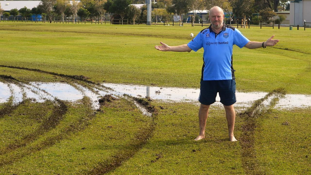 Ballina Soccer club president Gary Bond standing on playing fields damaged when hoodlums drove a car around playing fields Friday night causing significant damage.