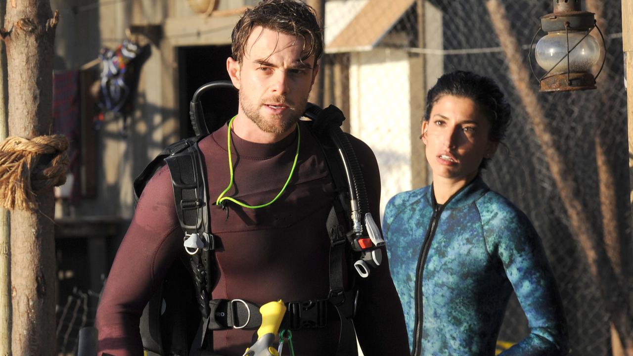 Australian actor Nathaniel Buzolic in a scene from Deep Blue Sea 3.