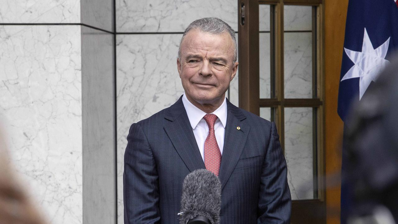 Prime Minister Scott Morrison with Brendan Nelson during a press conference at Parliament House in Canberra. Picture: NCA NewsWire/Gary Ramage