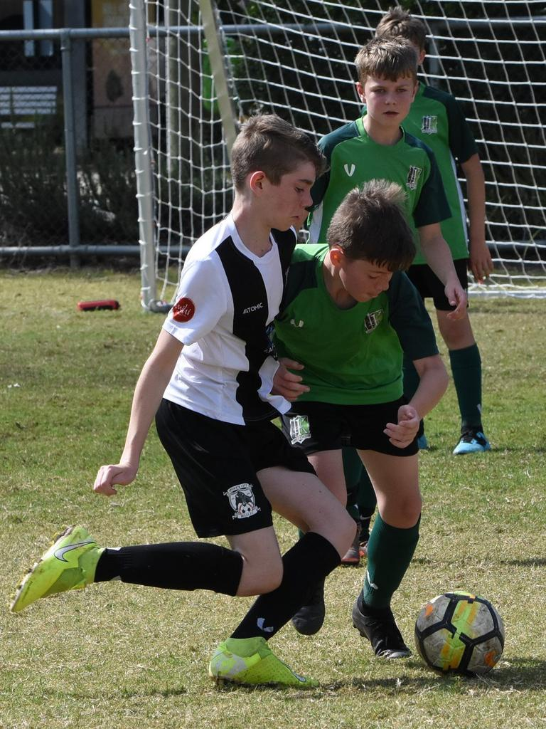 Action from the U12 football match between Ipswich City and Ipswich Knights. Picture: Gary Reid