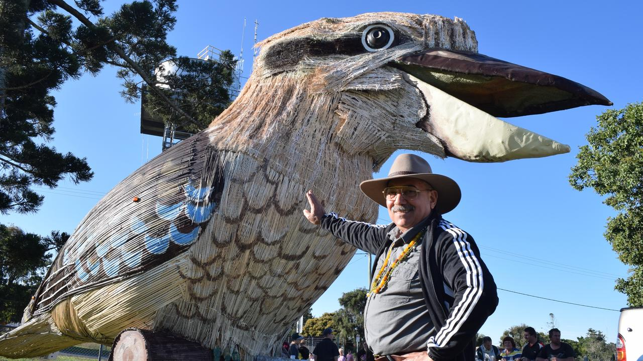 GIANT KOOKABURRA: Dr Farvardin Daliri with his giant laughing kookaburra. Photo: Stuart Fasts