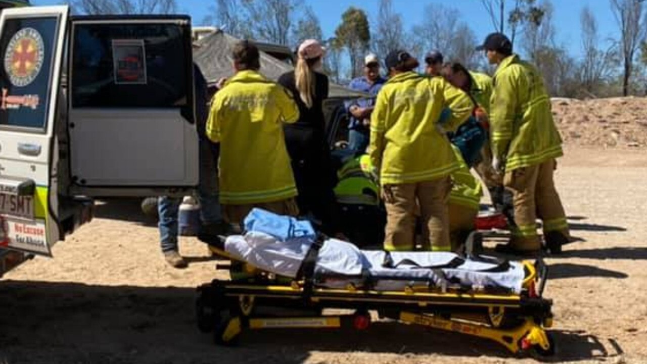A Queensland Ambulance Service spokeswoman said the motorcyclist crashed on Clermont Alpha Rd at 11.53am on Thursday August 6.