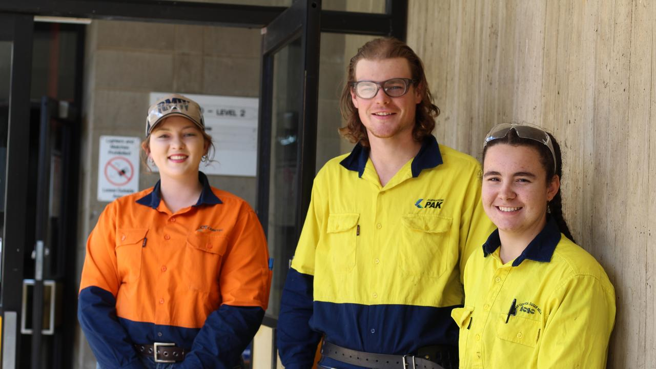 CREATING OPPORTUNITIES: Krystal Davies, Kurt Trott and Ana Kehl at the Bundaberg Tafe for their respective apprenticeships.