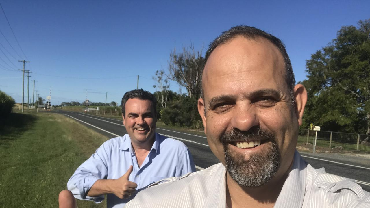 NQ First party leader Jason Costigan and Mirani candidate Jason Borg pictured at their proposed route for the Walkerston Bypass along the Eton Homebush Rd at Rosella. The pair say the road should have followed this route because it would have impacted fewer landholders.