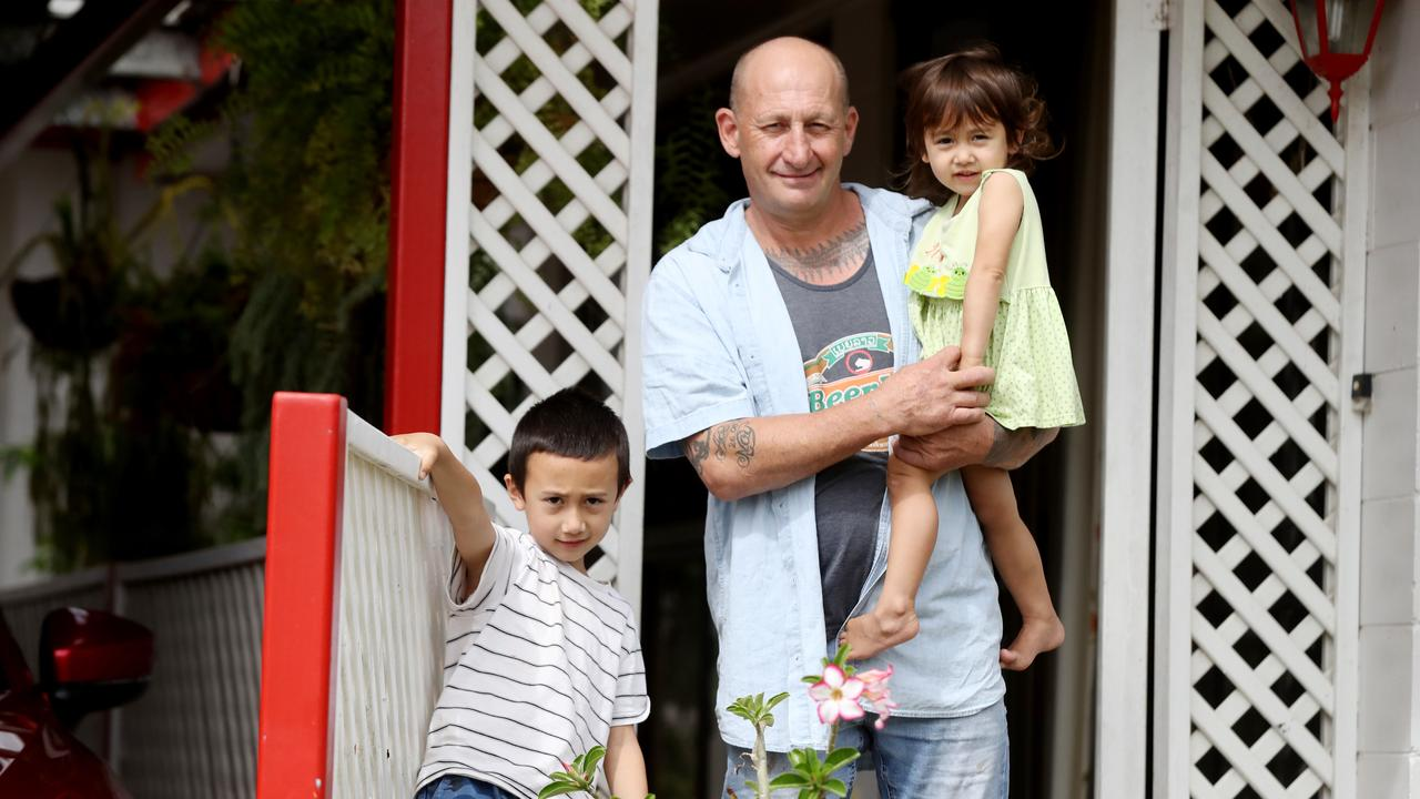 Wayne Avison and his children Ace, 7, and Emme, 3, have had great support from the Cairns community for places to live and job offers. PICTURE: STEWART McLEAN