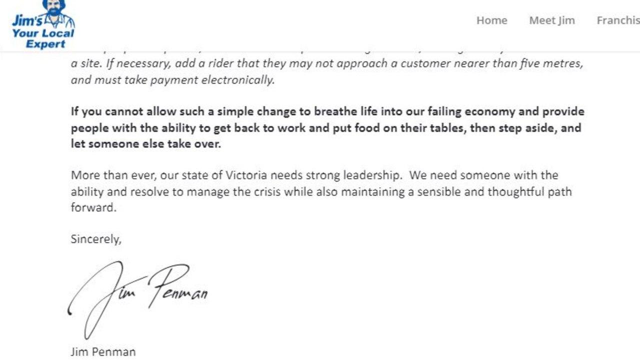 Jim's Mowing boss Jim Penman has attacked Premier Daniel Andrews in an open letter.