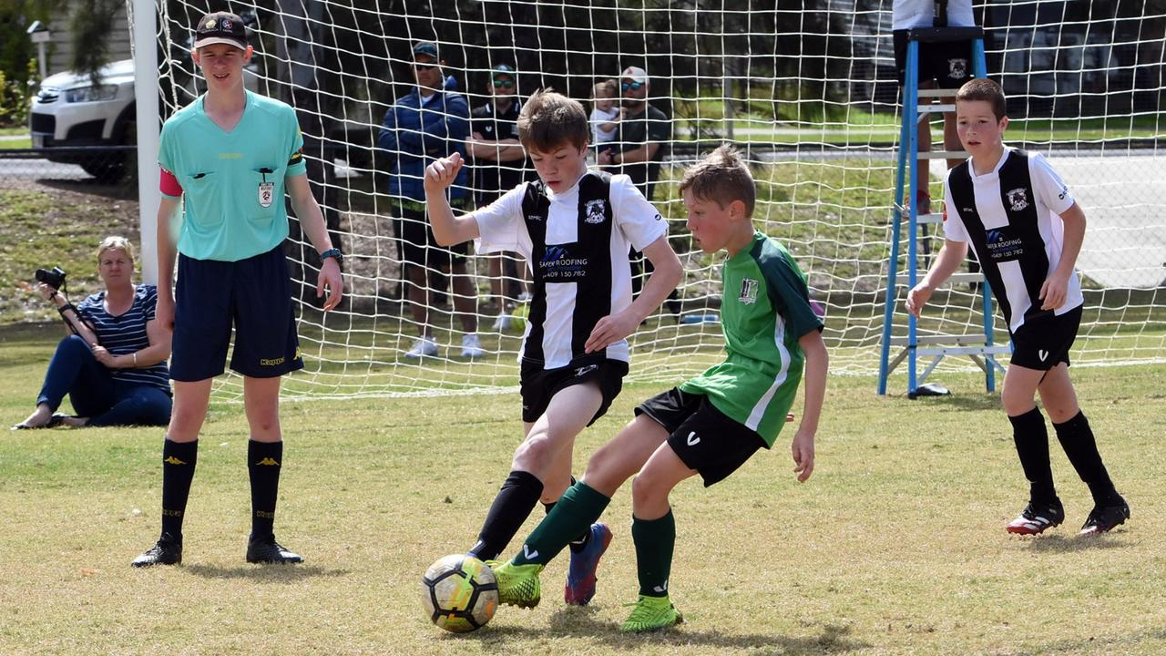 Action from the U12 Brisbane Youth Premier League match between Ipswich Knights and Ipswich City at Sutton Park. The Knights and City drew 1-1. Picture: Gary Reid