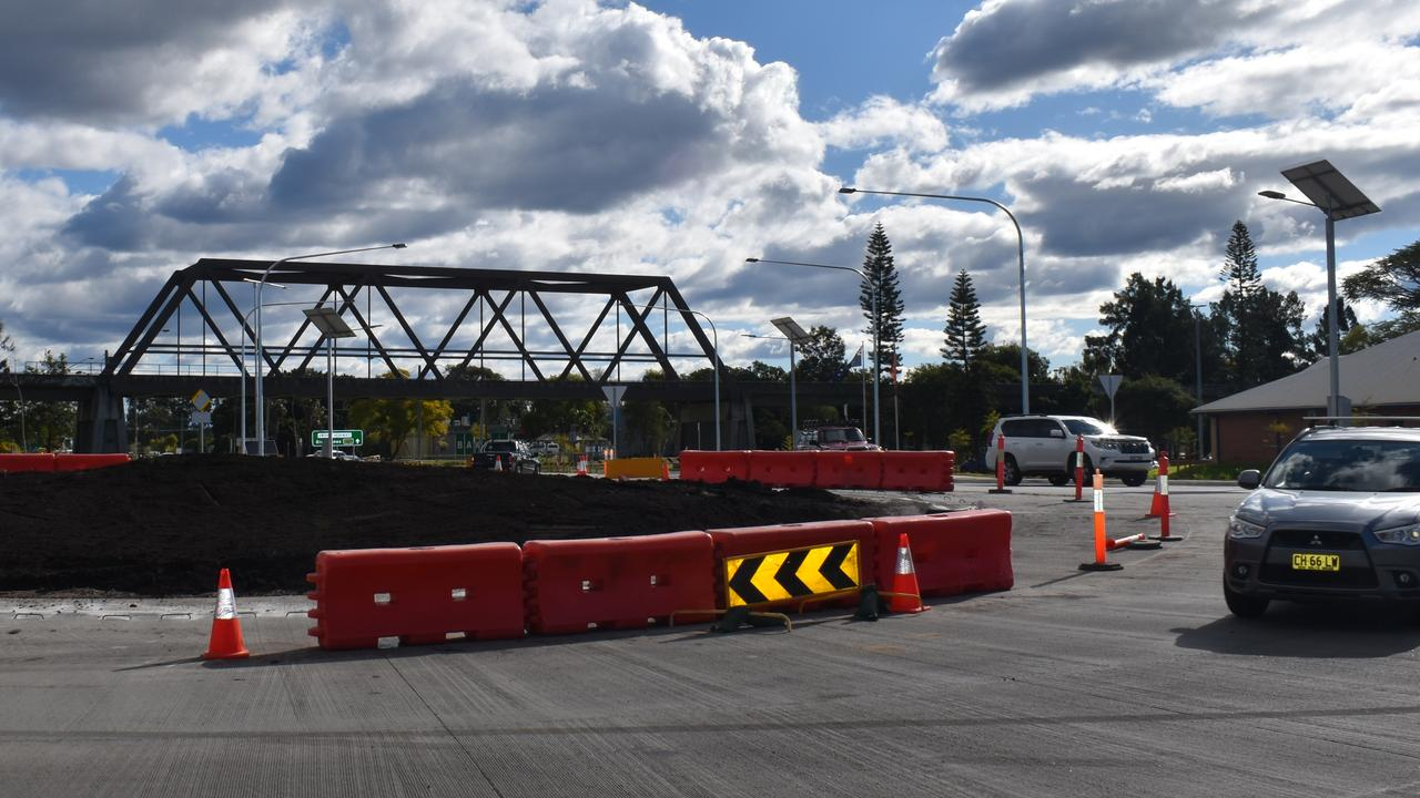 Progress on the roundabout connecting the Big River Way (former Pacific Highway), Gwydir Highway and Summerland Way (Iolanthe St). Photo Bill North / The Daily Examiner