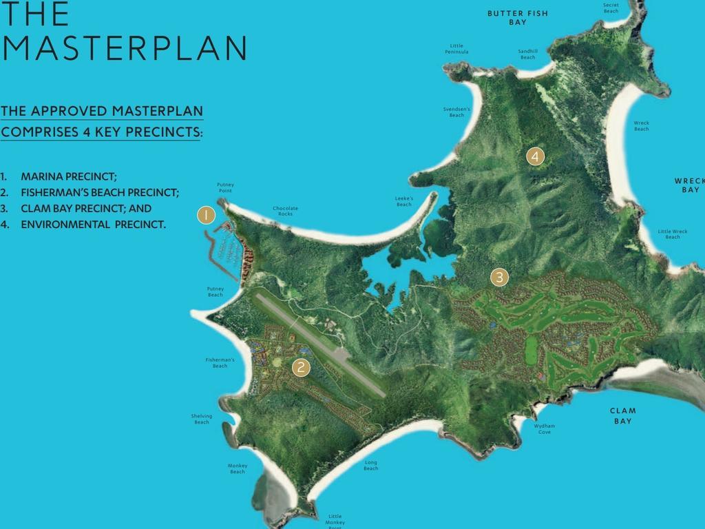 GKI PLAN: The Great Keppel Island integrated resort and villa development plan comprises of four development precincts – Marina Precinct, Fisherman's Beach Precinct, Clam Bay Precinct, Environmental Protection Precinct.