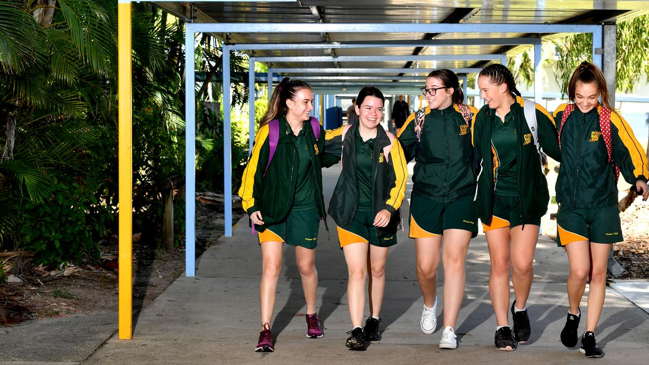 Pioneer State High School Year 11 students Jade Davey, Amelia Flor, Grace Gibson, Samantha Vella and Erin Hawthorne. Picture: Tony Martin
