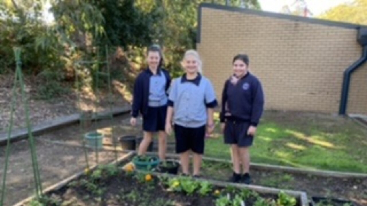 The students at St Josephs with their new garden