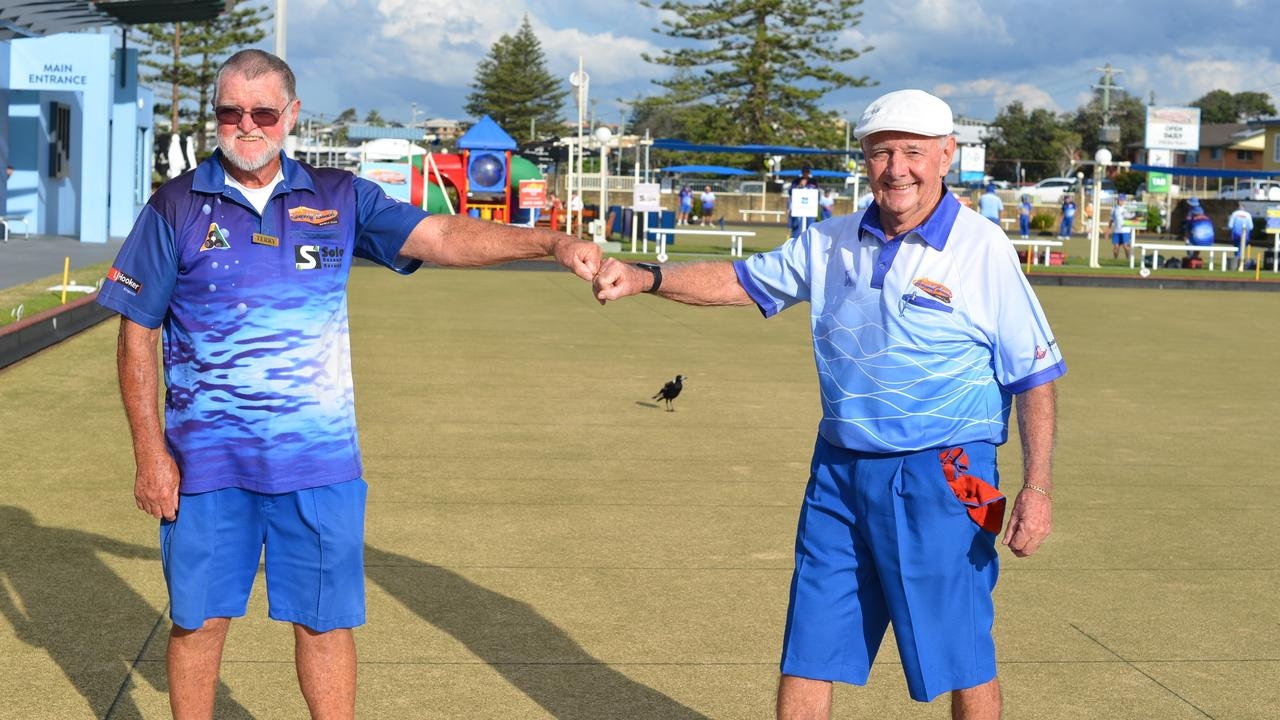 CHAMPS ON THE GREEN: At the Tweed Byron District Singles Championships Terry Lee, Winner, Senior Singles Championship with Runner up, Club mate, Peter Murphy.