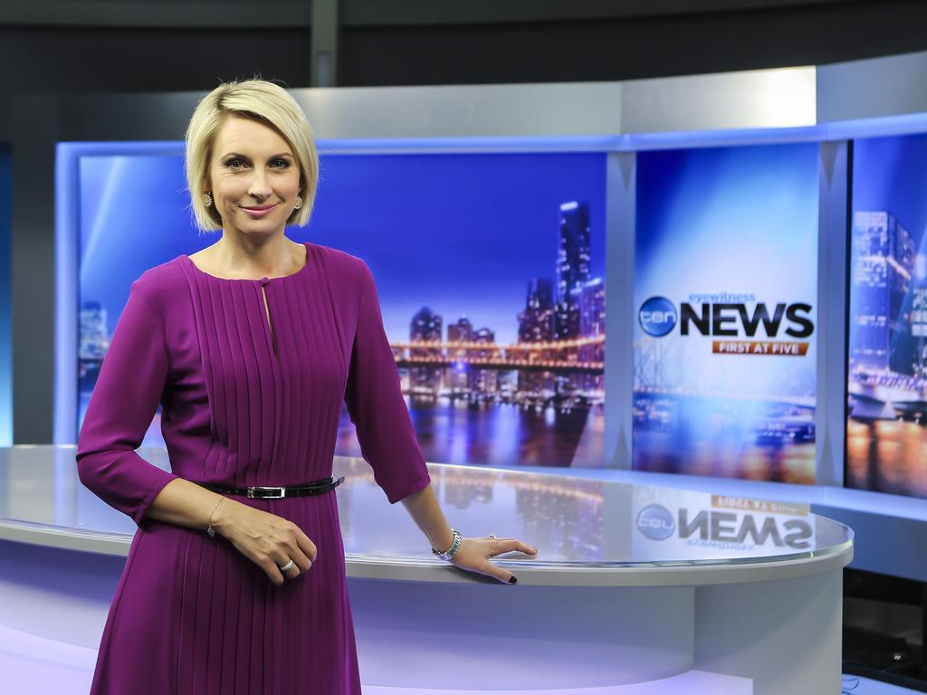 Ten News First newsreader Georgina Lewis in the Brisbane studios