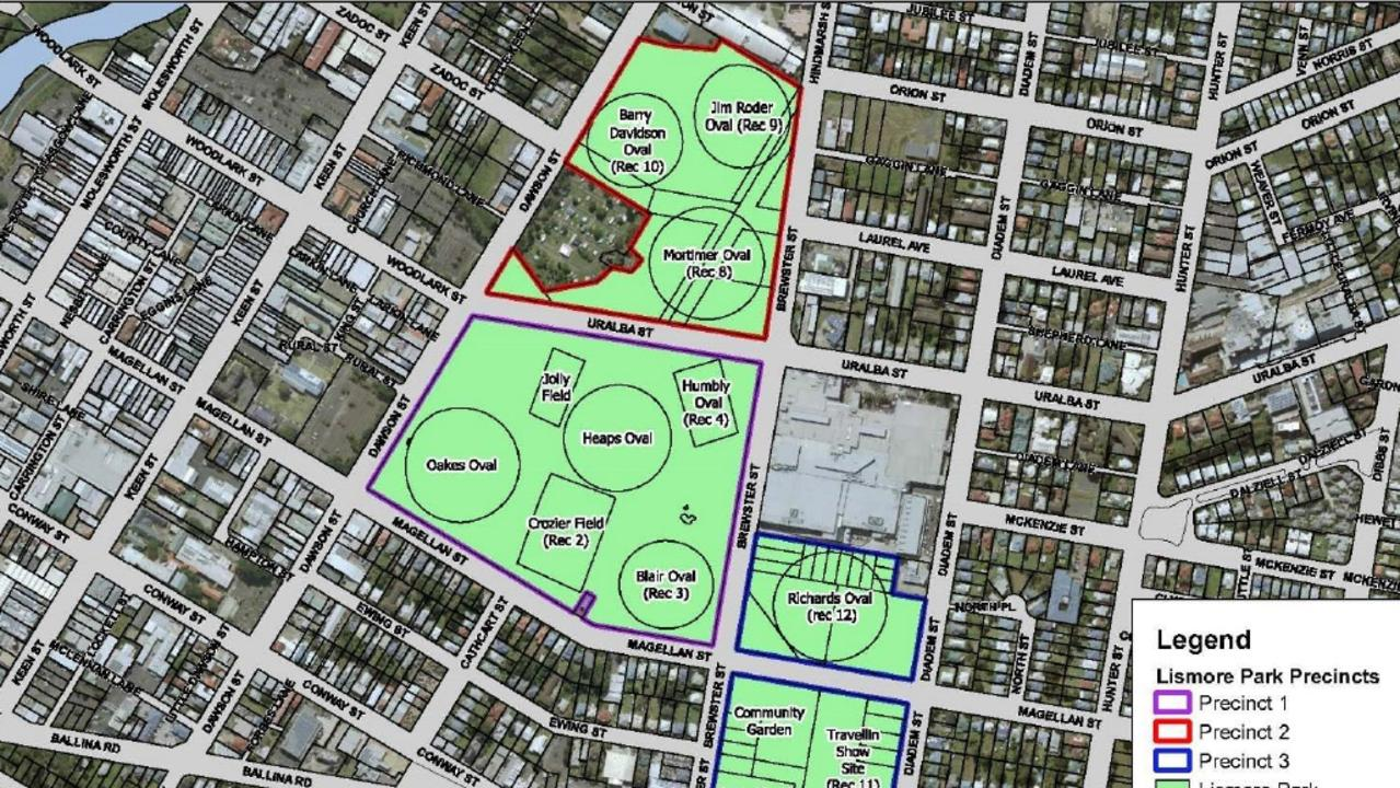 Maps showing the areas covered by the Lismore Park Plan.