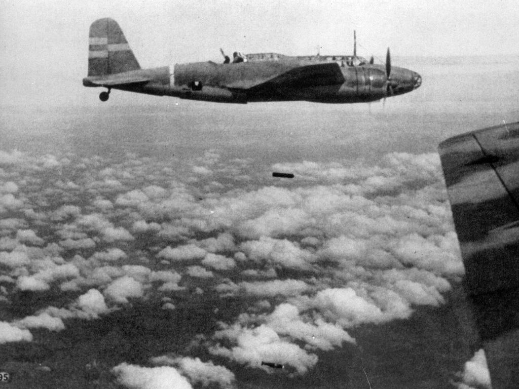 Japanese aircraft join the attack on Singapore. Picture: Getty