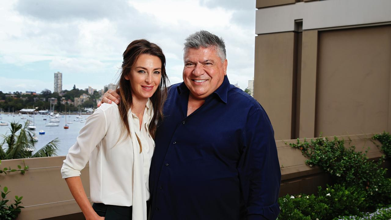 John Symond with the then Amber Keating at the time of their engagement, Valentines Day, 2015, outside the Point Piper mansion. Picture: Toby Zerna