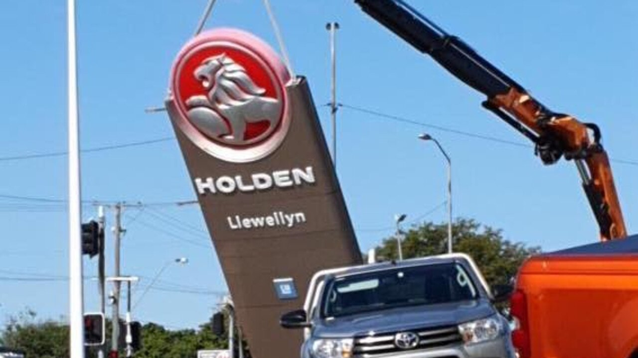 The Holden signage out the front of Llewellyn Motors in Booval was taken down.