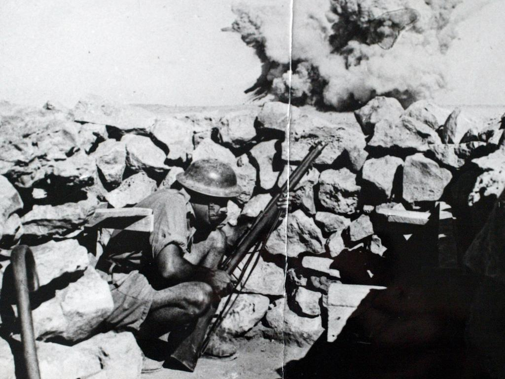 Australian soldier Gordon Last takes cover at Tobruk. File picture