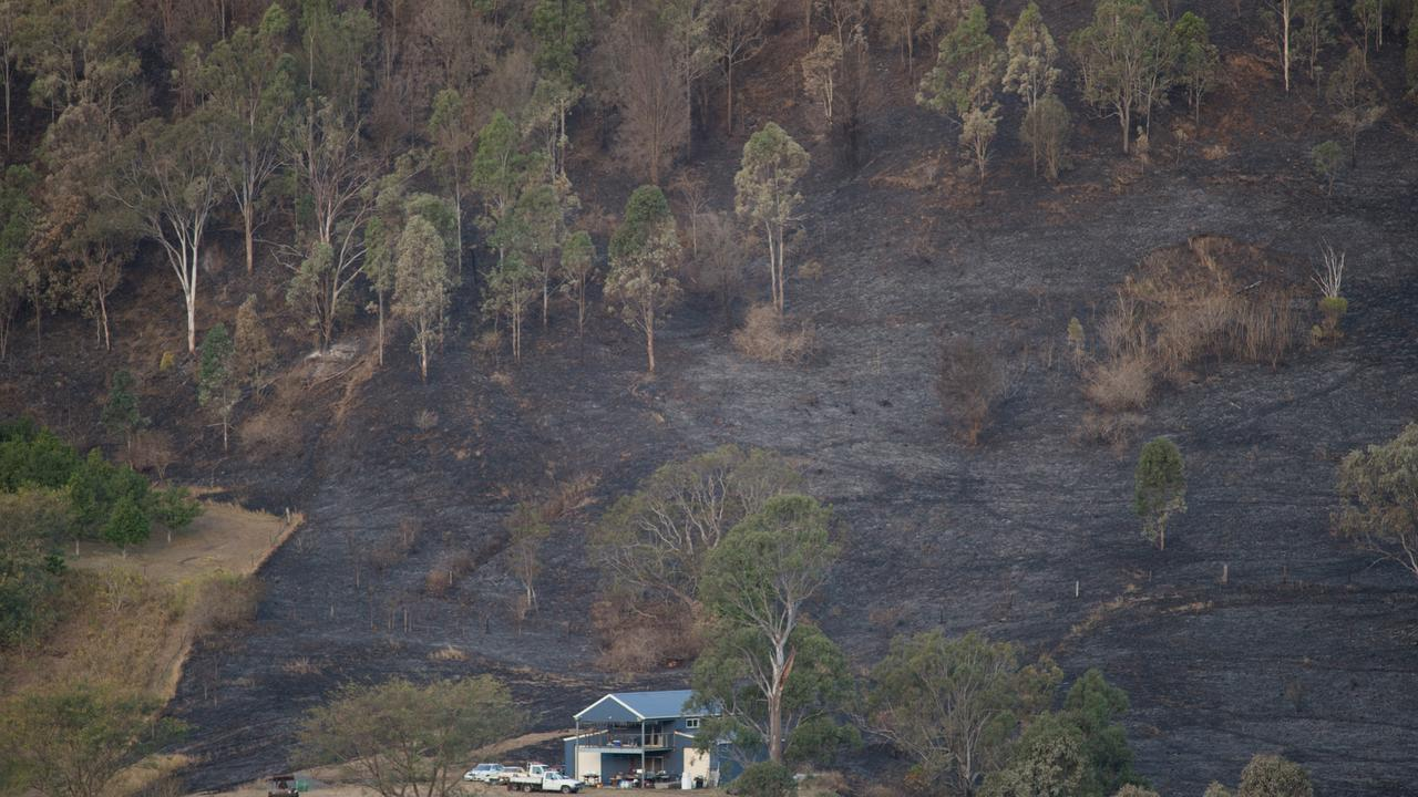 A burnt out paddock surrounds a house near Lamington National Park Road, Canungra, Queensland, Saturday, September 7, 2019. (AAP Image/Aaron Bunch)