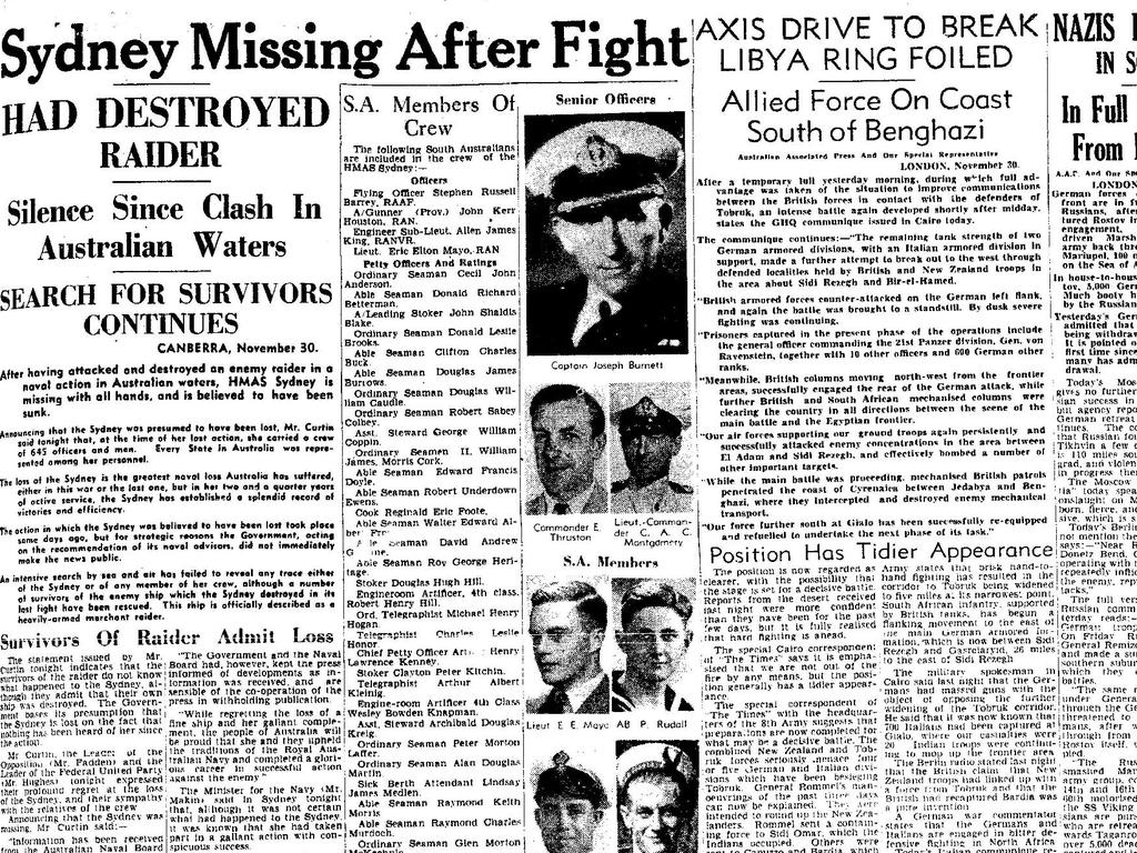 Newspaper headlines from 1941 announce the loss of HMAS Sydney.