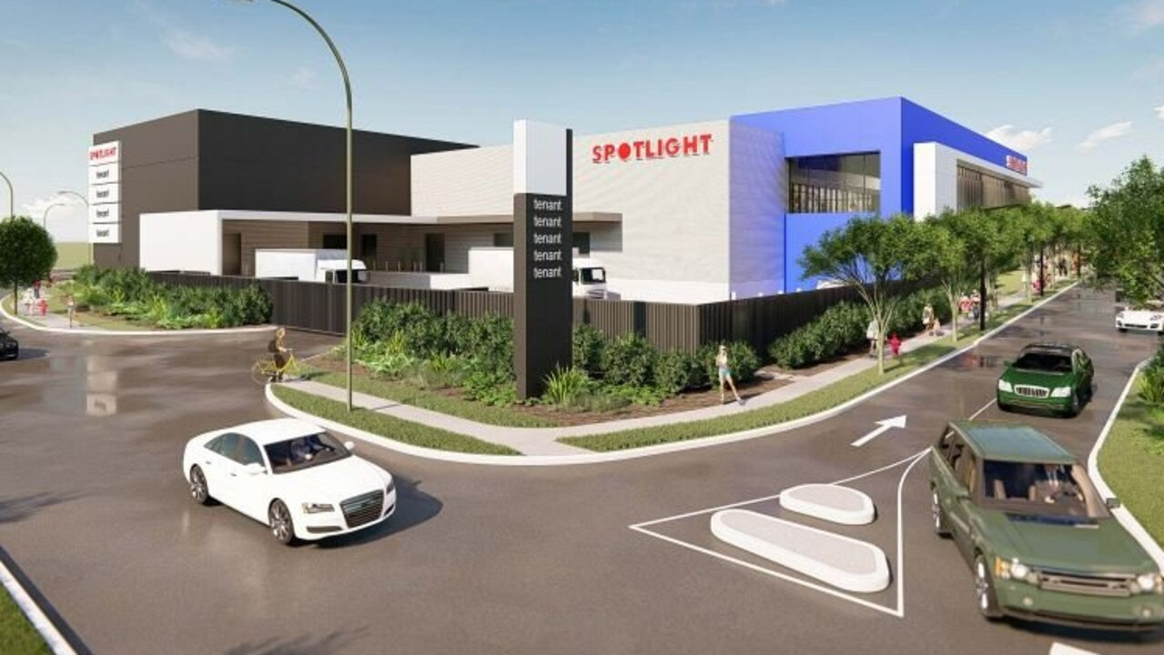 An artist's impression shows revised designs for a new Spotlight retail complex and farmers markets on Dalton Dr in Maroochydore.