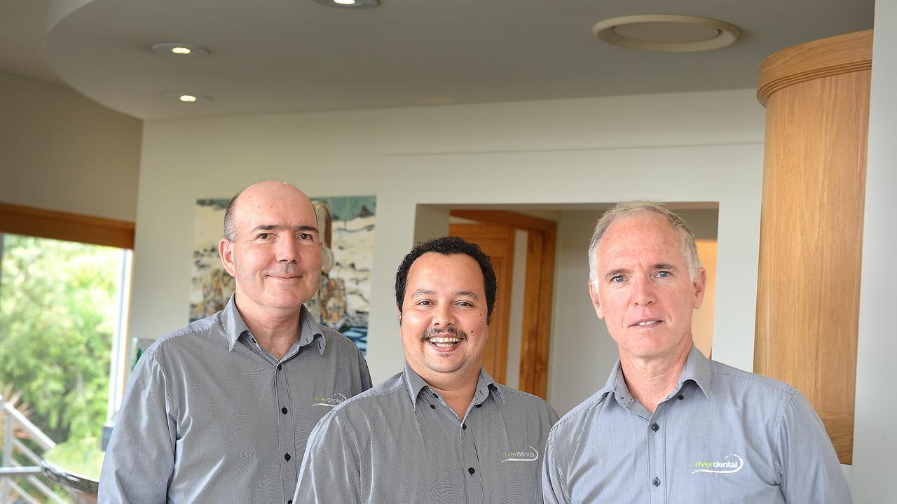 Dr Tim Topalov, Dr Neil Halder and Dr Brian Maher River Dental Gympie. Photo Renee Albrecht/Gympie Times