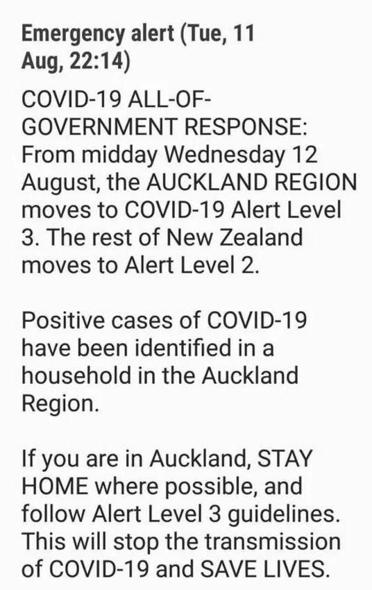 This alert was sent to New Zealanders' phones. Source:NZ Herald