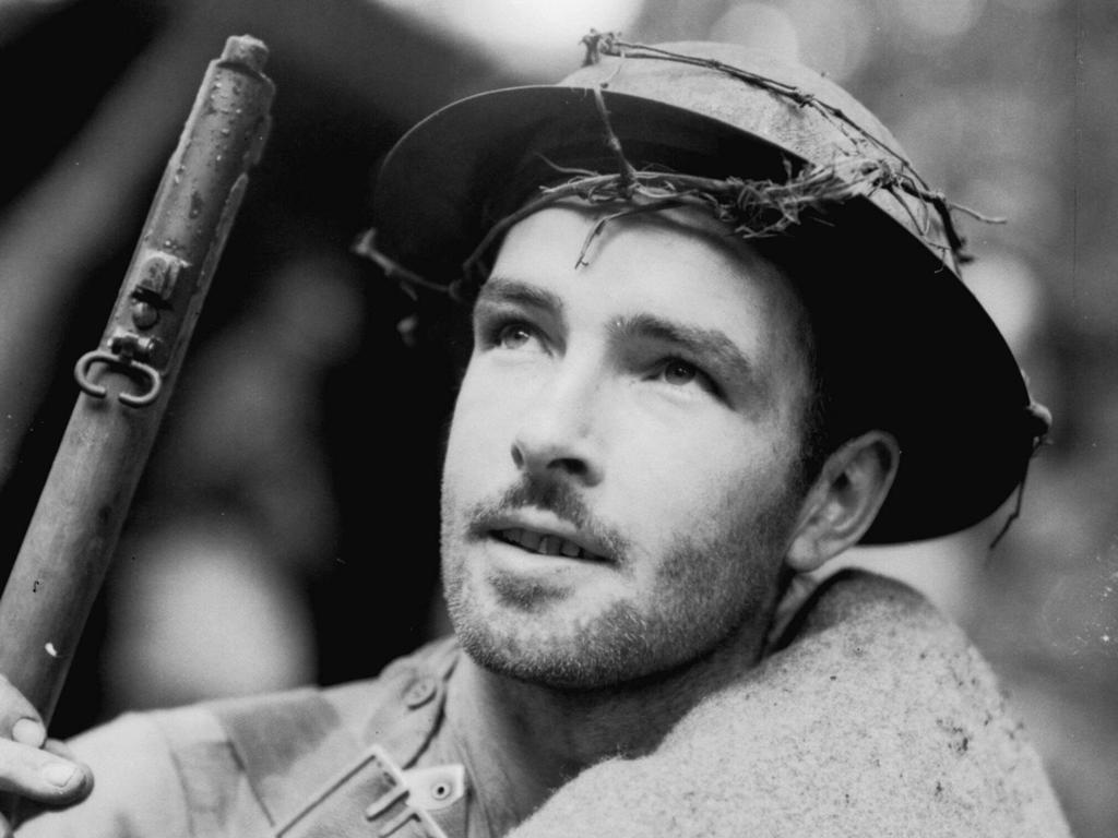 Corporal J.A. Canty of the 39th Battalion readies for action against the Japanese at Isurava. File picture