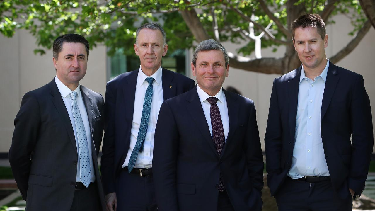 ABC news director Gaven Morris, News Corp corporate affairs group executive Campbell Reid, Nine political editor Chris Uhlmann and Nine group executive James Chessell spoke at the latest Press Freedom Inquiry hearing. Picture: Kym Smith/News Corp Australia