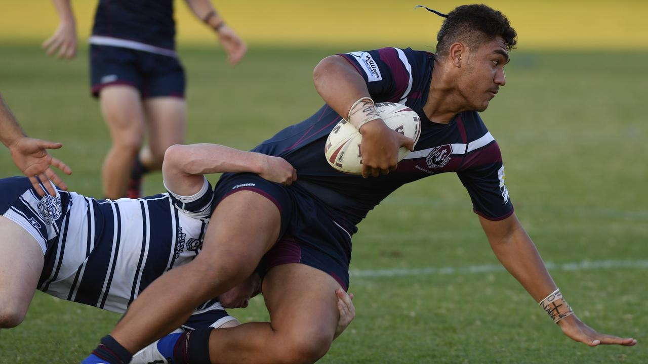 Powerful Ipswich State High centre Evander Tere-Rongotaua. Picture: Kevin Farmer