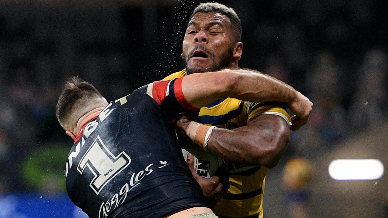 The point of impact when Maika Sivo hits James Tedesco during the Round 6 NRL match between the Sydney Roosters and Parramatta Eels. Picture: AAP Image/Dan Himbrechts