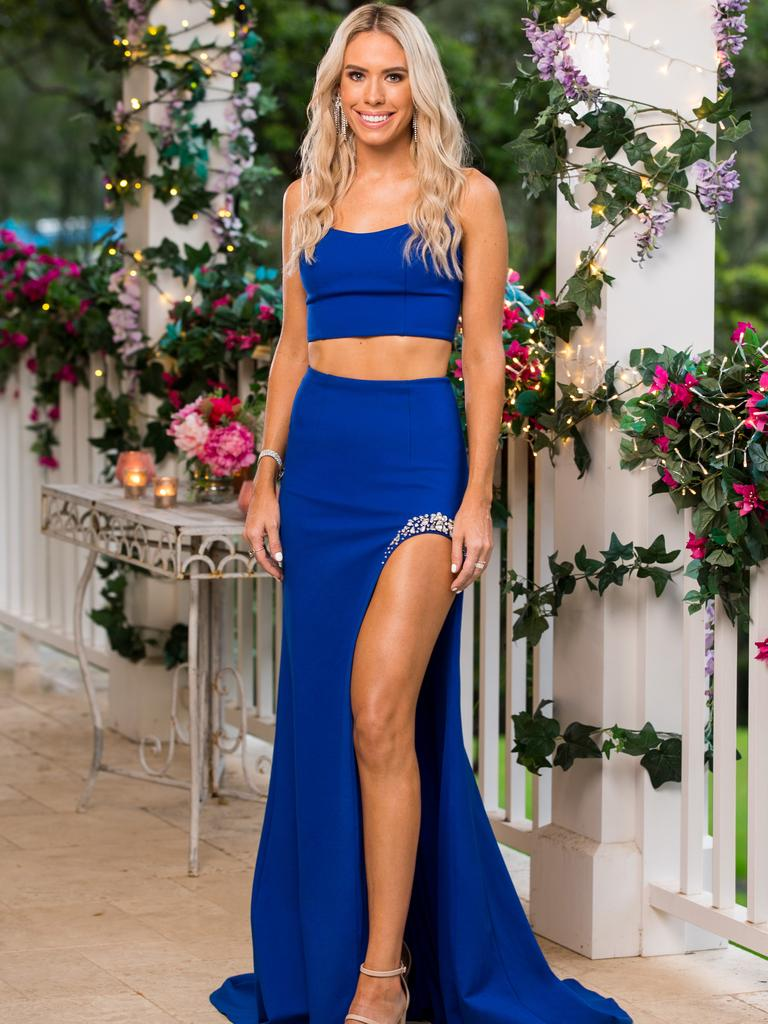 Charley oozes glamour in her royal blue two-piece. Picture: Channel 10