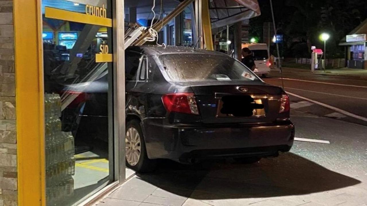 A car crashed into the NightOwl convenience store in Airlie Beach in March. Photo: Contributed