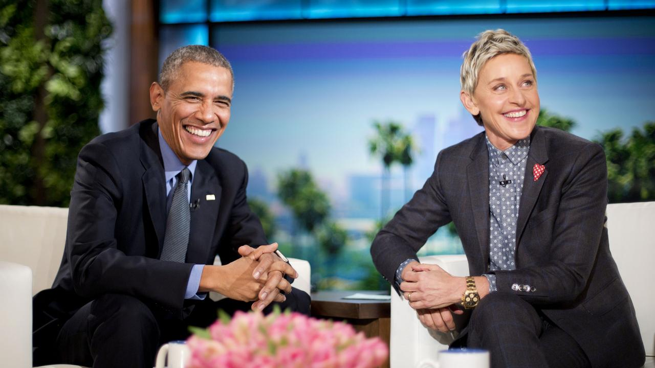 President Barack Obama talks with Ellen DeGeneres during a commercial break while taping a show segment of the Ellen DeGeneres Show in Burbank, Calif., Thursday, Feb. 11, 2016. (AP Photo/Pablo Martinez Monsivais)