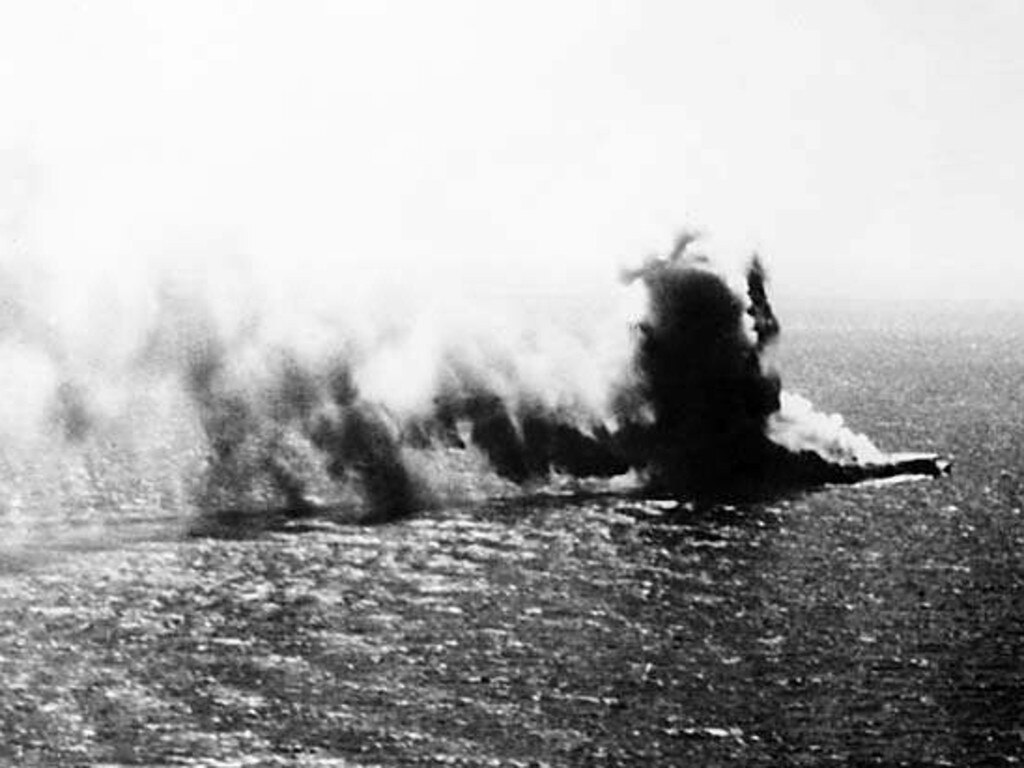 The Japanese ship Shoho is destroyed in the Battle of the Coral Sea. Picture: Supplied / Australian War Memorial