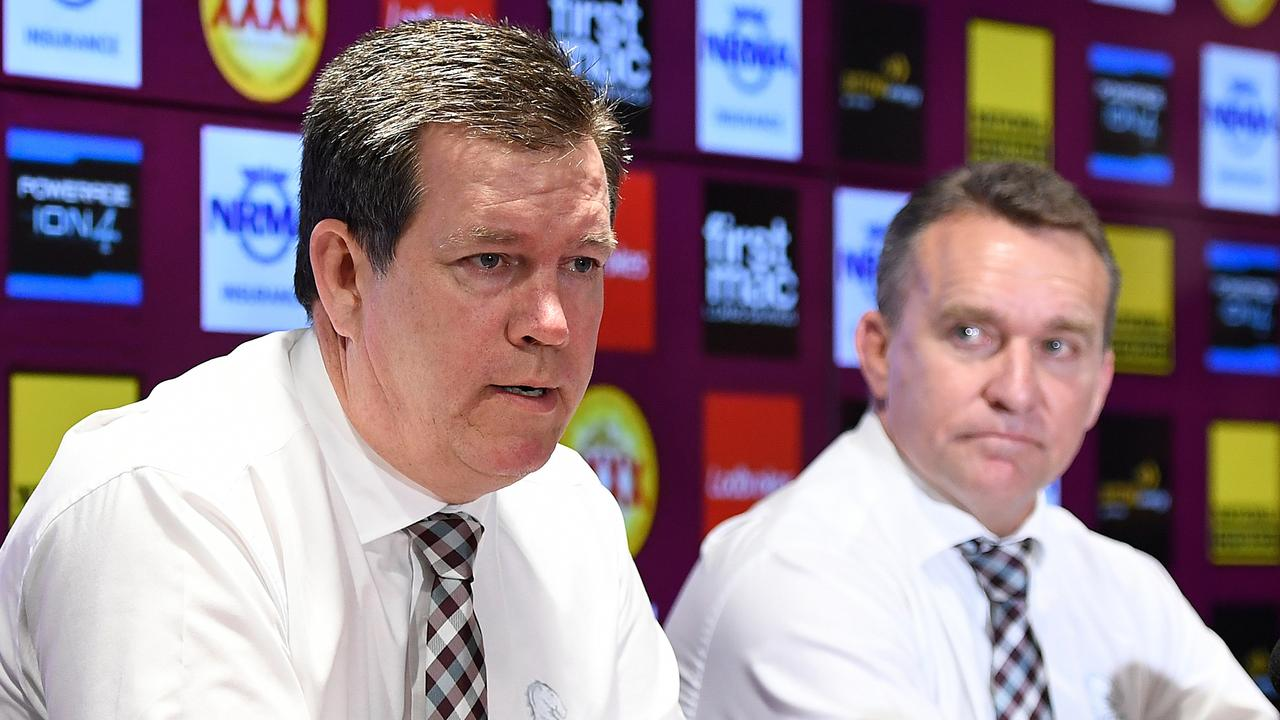 Karl Morris and Broncos chief executive Paul White haven't escaped criticism of the Broncos' plight this season. Picture: AAP