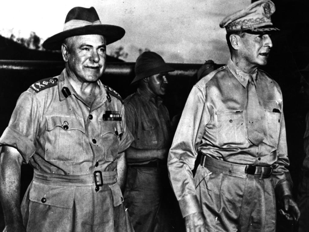 Australian General Thomas Blamey with US General Douglas MacArthur. File picture