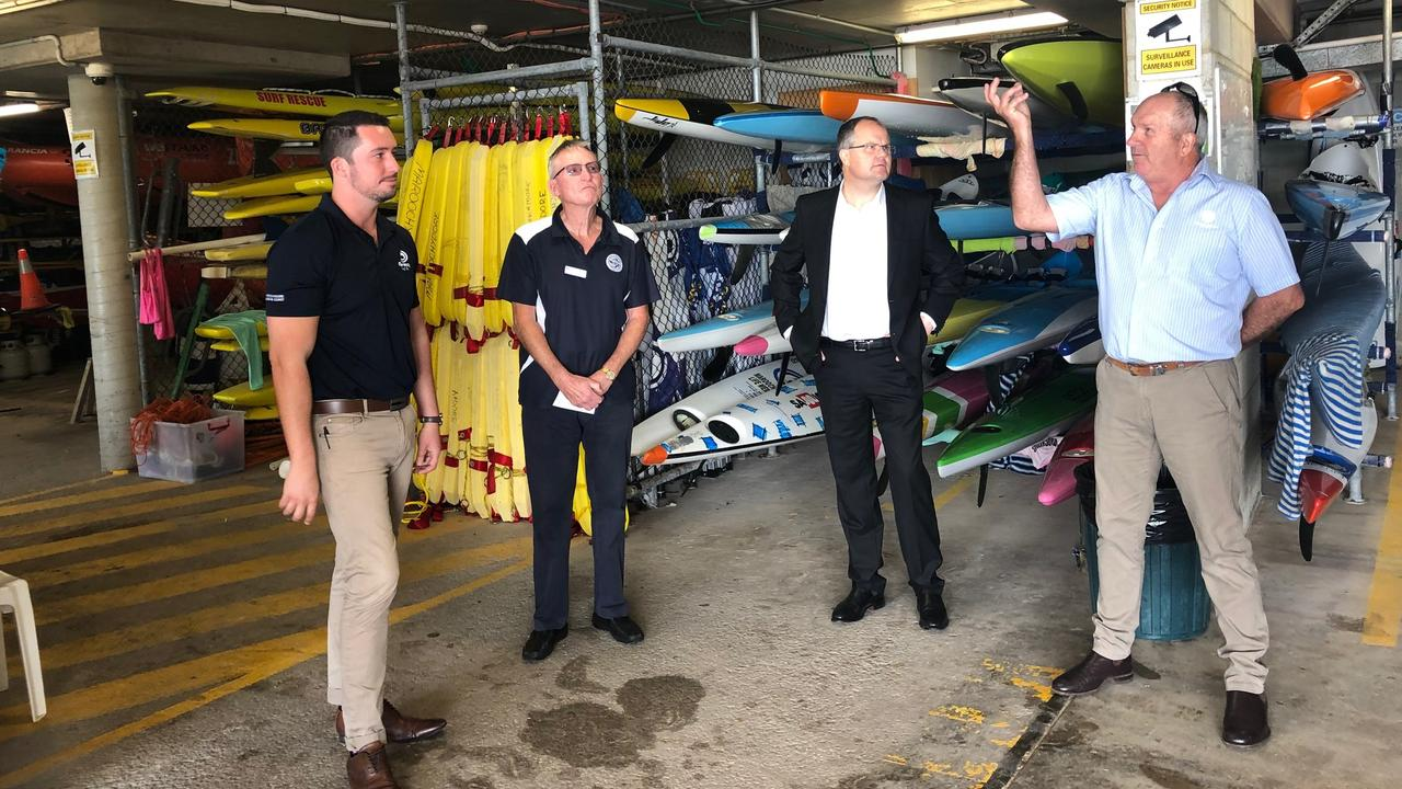 Ted O'Brien MP (second from right) meets with Maroochydore Surf Life Saving Club general manager Jack Orr, Vinnies northern central president John Harrison and Maroochydore Surf Life Saving Club president Rob Elford.