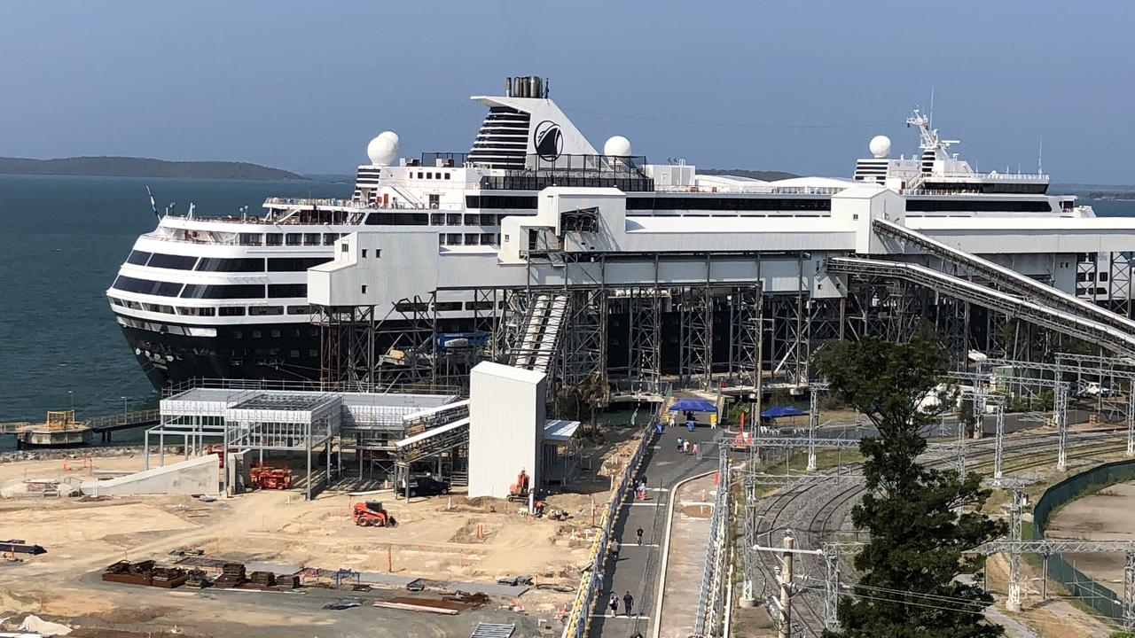 Holland America Line cruise ship MS Maasdam docked in Gladstone on November 19, 2019. Also pictured is construction site of East Shores stage 1B.